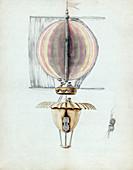 Early hot air balloon design,1783