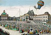 Early hot air balloon flight,1783