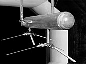 Helicopter model in a wind tunnel,1957