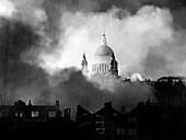 WWII air raid fire,St Paul's,1940