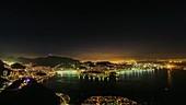 Rio de Janeiro at night, timelapse