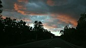 Driving through New Mexico at dusk