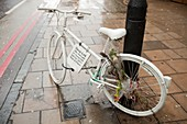 Ghost bike tribute to a cyclist