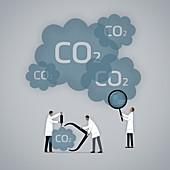 Measuring carbon footprint,illustration