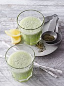 A revitalising green smoothie with banana and guarana
