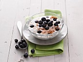 Yoghurt with blueberries and ground hazelnuts