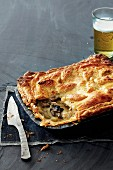 Chicken and mushroom pie with beer