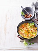 Omelette with shrimps and vegetables