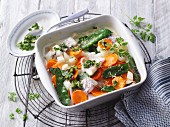 Vegetable bake with rosefish and chervil (no carb)
