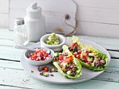 Mexican lettuce tacos with tomato salsa and avocado (no carb)