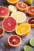 Assorted citrus fruits cut in half