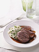 Shoulder of lamb with Jerusalem artichoke purée