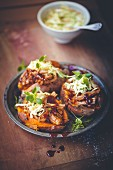 Sweet potatoes with pulled pork and coleslaw