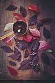 Melted chocolate and autumnal leaves