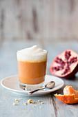 Mandarin-pomegranate cappuccino