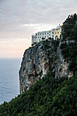 The former monastery Santa Rosa on the cliff, Amalfi coast, Italy
