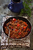 Chilli con carne with peppers
