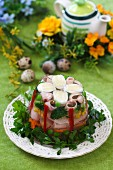 Quail's eggs, vegetables and ham in aspic for Easter