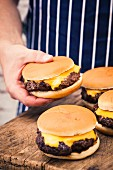 A ready-made hamburger on a wooden board