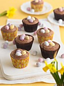 Cupcakes with sugar eggs for Easter