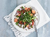 Salmon salad with lentils and rocket