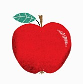 A red apple with a leaf (illustration)