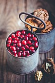 Cranberries and walnuts