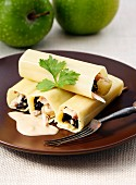 Cannelloni with quail, apple and plum