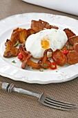 Pickled mushrooms with poached egg