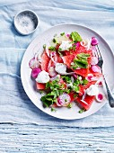 Watermelon and radish salad with goat s cheese