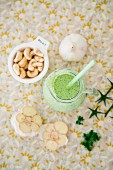 Vegan coriander sour cream with cashew nuts and almond milk