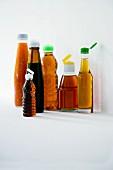Various different orientals seasonings in bottles