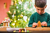 A little boy building a gingerbread house