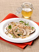 Porcini mushroom carpaccio with hazelnuts
