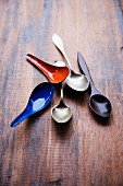 Soup spoons made of various materials