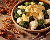 Cauliflower and broccoli with cheese sauce