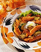 Roasted carrots and courgettes with sesame seeds and sour cream