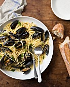 Pasta with mussels and herbs