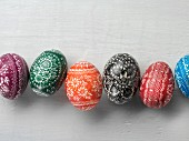 Sorbian Easter eggs on a white surface