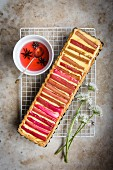 Rhubarb and custard tart with rhubarb syrup