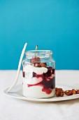Cherries, yoghurt parfait and honey-roasted almonds
