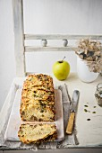 Savoury apple, cheese and walnut bread, sliced