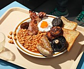 A full English breakfast on a tray