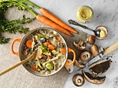 Veal casserole with carrots, mushrooms and mustard