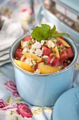 Couscous salad with watermelon and feta cheese