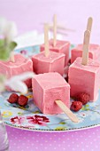 Homemade raspberry ice cream sticks