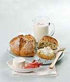 Mixed grain bread with cream cheese, bacon and yoghurt