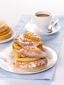 Sweet pastries with honey served with espresso (Italy)