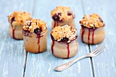 Almond muffins with blueberries baked in glasses