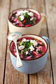 Cold beetroot soup with radishes, herbs, buttermilk and quark